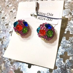 Round Colorful Bling Earring Large Studs